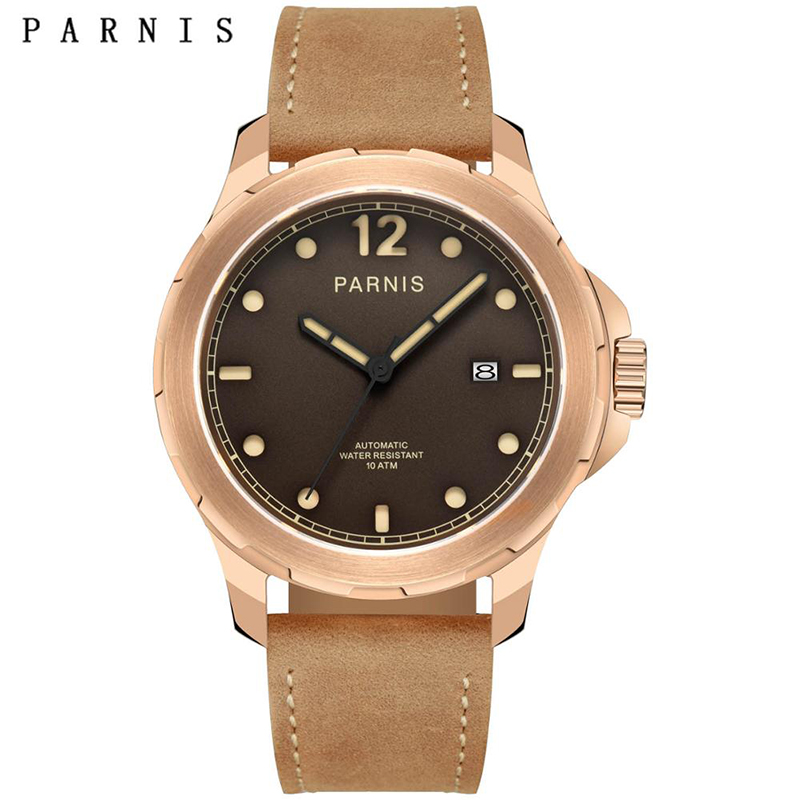 Parnis 44mm Mens Mechanical Watches Military Watch Men Automatic Wrist Watch Sapphire Auto Date Brown Genuine Leather Watchband