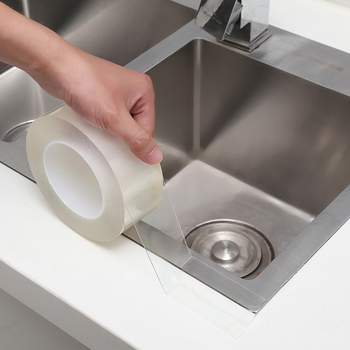 Zlewozmywak wodoodporna taśma przezroczysta Nano pleśni silny samoprzylepny basen uszczelnienie wody łazienka Gap Strip silikonowe naklejki tanie i dobre opinie CN (pochodzenie) hydrauliczny Typ włókna PET+ Acrylic Glue