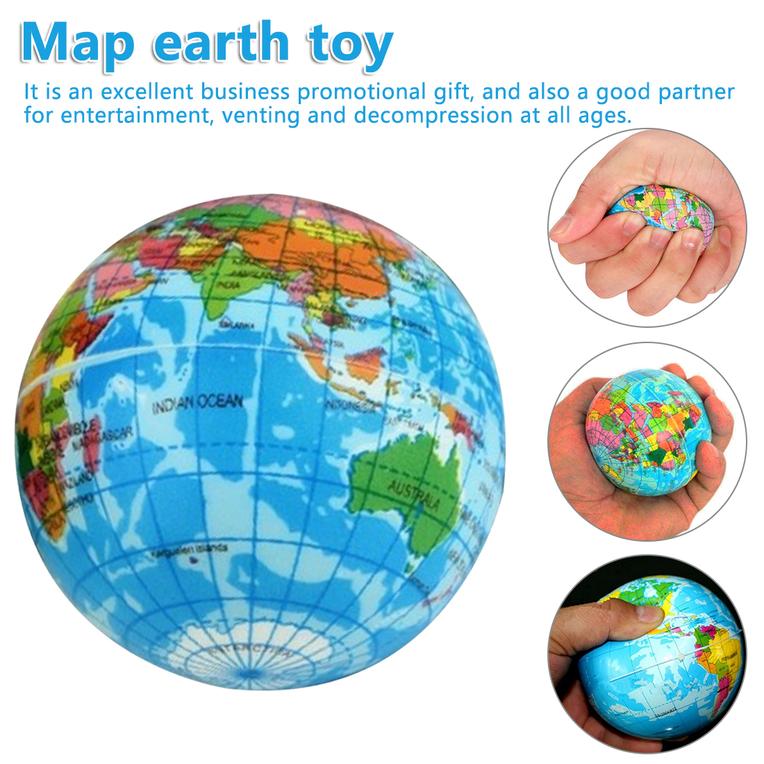 Stress Relief Sponge Earth Bouncy Balls Slow Rising Antistress Toys Children World Map Earth Toy For Kids