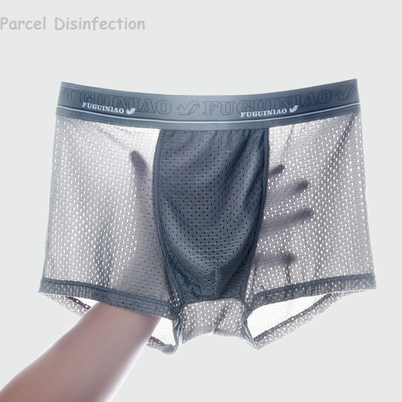 4pcs/Lot Men'S Underwear Man Boxer Summer Ice Network Mesh Breathable Sexy Youth Boxer Bamboo Ventilate Shorts Four Shorts Cosy