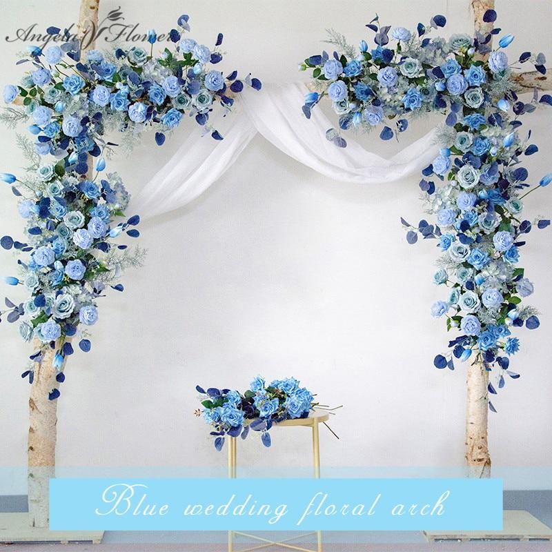 Пользовательские Свадебные реквизиты Арки Фон вечерние события Декор Искусственный ряд цветов шелк синий белый открытый газон поддельные ...