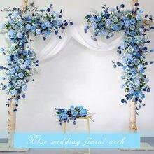 Niestandardowe rekwizyty ślubne arch tło strona dekoracje na imprezy okolicznościowe sztuczny kwiat rząd jedwab niebieski biały trawnik zewnętrzny sztuczna kompozycja kwiatowa
