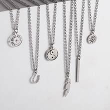Collier en acier inoxydable pour hommes et femmes, chaîne longue Simple, pendentif rectangulaire, collier de déclaration, ras du cou, cadeaux pour Couples