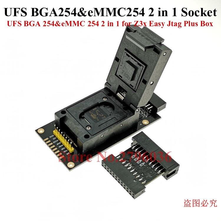 Dernier adaptateur de prise d'origine UFS BGA 254% eMMC 254 2 en 1 pour boîte Jtag Plus facile