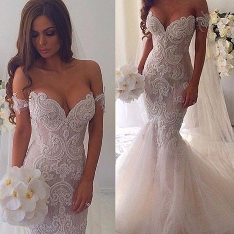 Wedding Dress Glamour Off-the-Shoulder Mermaid With Appliques Sleeveless For Wedding Party