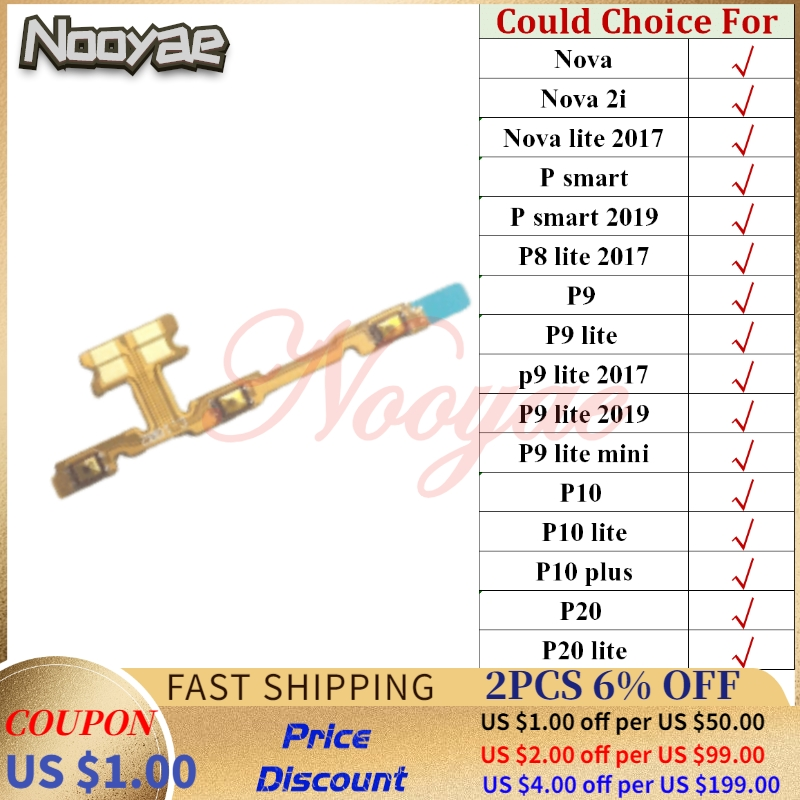 Switch On/off Ribbon For Huawei P9 Lite Mini Nova 2i P Smart 2019 P8 2017 2019 P10 Plus P20 Power Volume Button Flex Cable