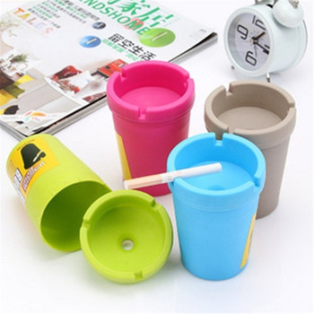 Car Mini Portable Ashtray Cigarette Cup Car Butt Bucket Smoke Ash Holder Candy Color image