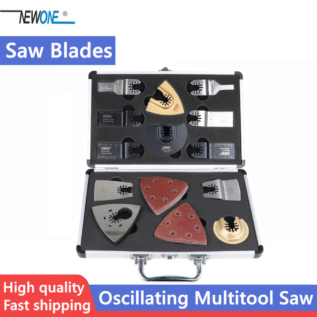 NEWONE Quick Release Oscillating Multitool Saw Blades Renovator Accessory Kit with Aluminum Case fit for Fein Multimaster Dremel