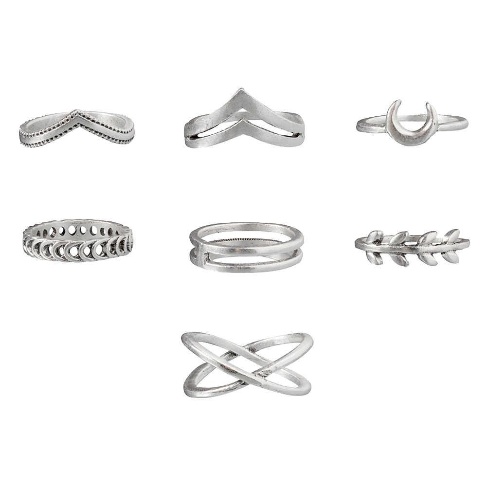 7 個女性レトロクロスムーン葉中空バンド指リング宝石類のギフト女性ギフトの結婚式の恋人の婚約指輪パンクジュエリー