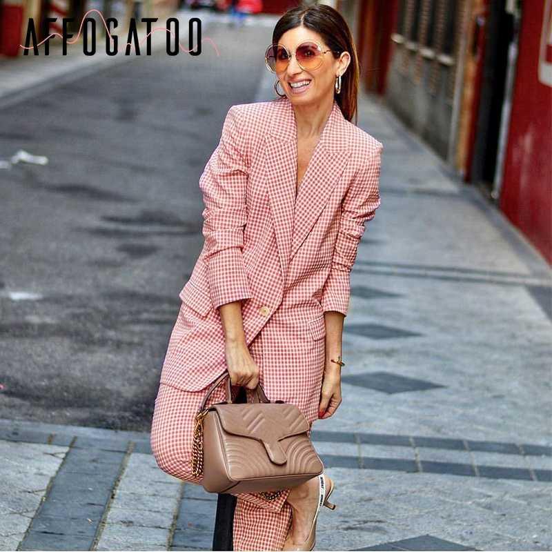 Affogatoo eleganckie panie biurowe kratę różowy blazer kobiety na co dzień z długim rękawem kieszenie przycisk kobiet płaszcze odzież wierzchnia elegancki płaszcz top