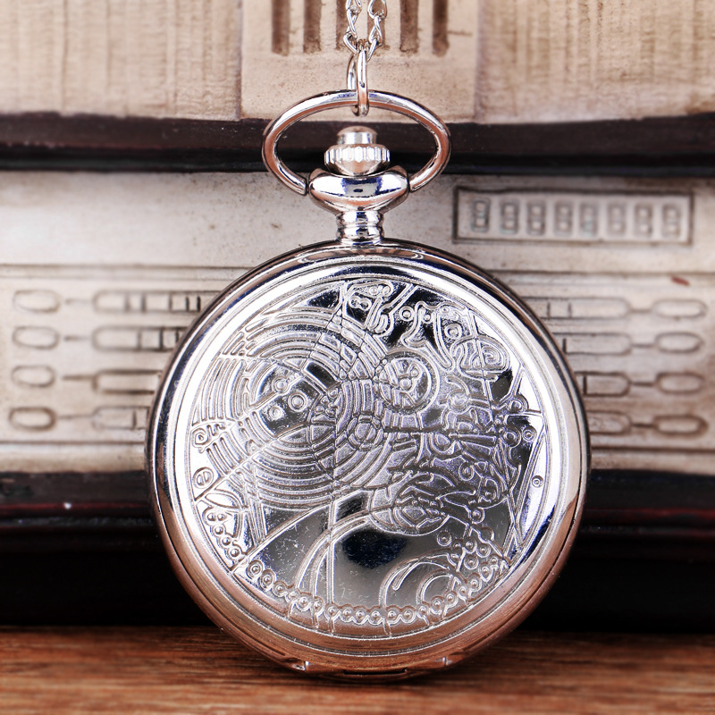 1055Large Silver Classical Map Rune Star Map Beautifully Carved Retro Special Rune Quartz Pocket Watch