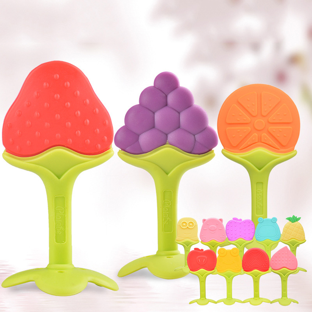 Baby Teether Safety Silicone Fruit Cartoon Teethers Infant Kids Chew Tooth Toys Baby Dental Care Strengthening Tooth Training in Baby Teethers from Mother Kids
