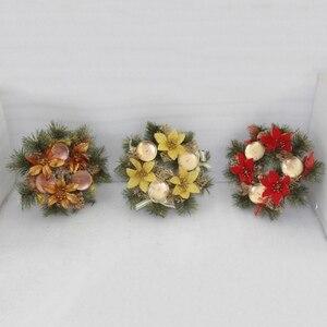 Рождественский венок, гирлянда, Искусственный Декоративный праздничный подсвечник, украшение для сезона