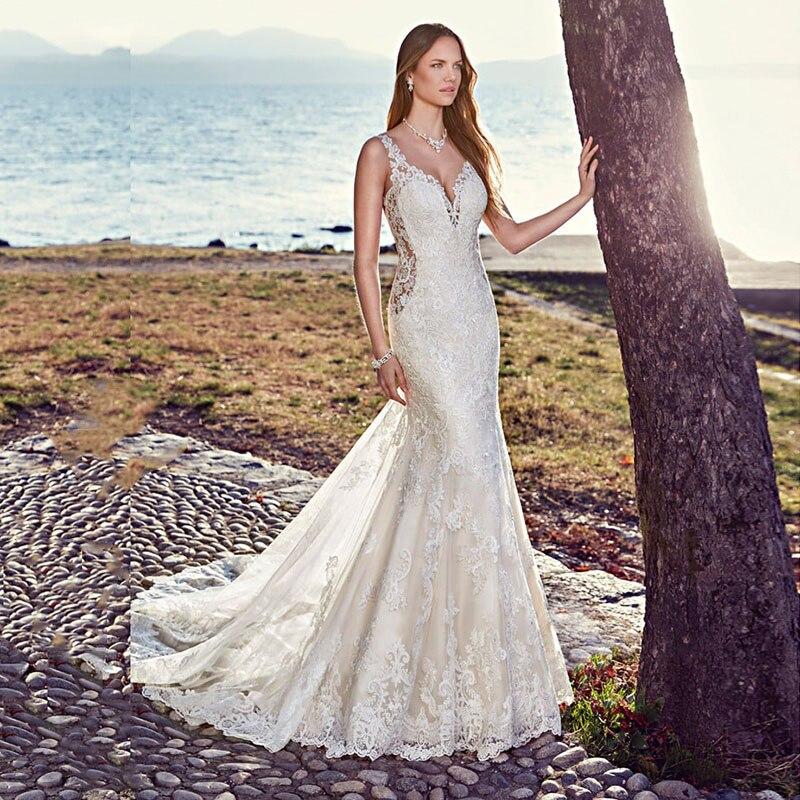 Eightale Mermaid Wedding Dress Sexy Appliques Lace O-Neck Wedding Gowns Backless Long Train Boho Bridal Dresses Vestido De Noiva