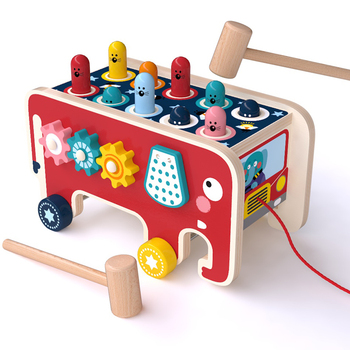 Classic Whack-A-Mole Game Multifunctional Elephant Drawable Car Digital maze Rotating gear toys for children wooden toy baby car - discount item  50% OFF Outdoor Fun & Sports