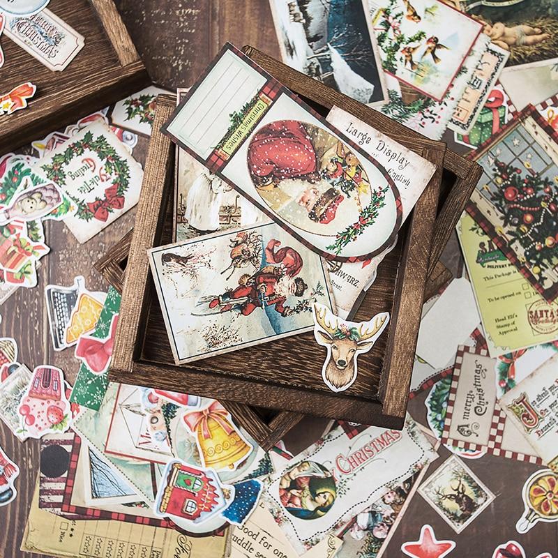 138Pcs/Lot Vintage Christmas Large Size Pack Sticker DIY Scrapbooking Album Junk Journal Planner Decorative Stickers