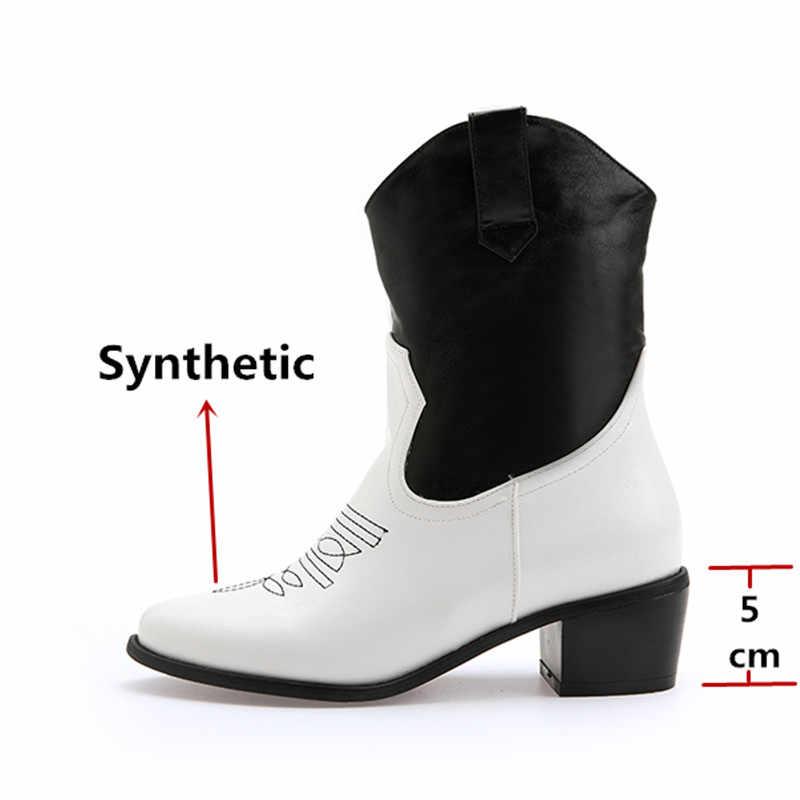 FEDONAS kadın artı boyutu kare topuklu kadınlar yeni yarım çizmeler moda parti gece kulübü ayakkabı kadın klasik baskılar batı botları