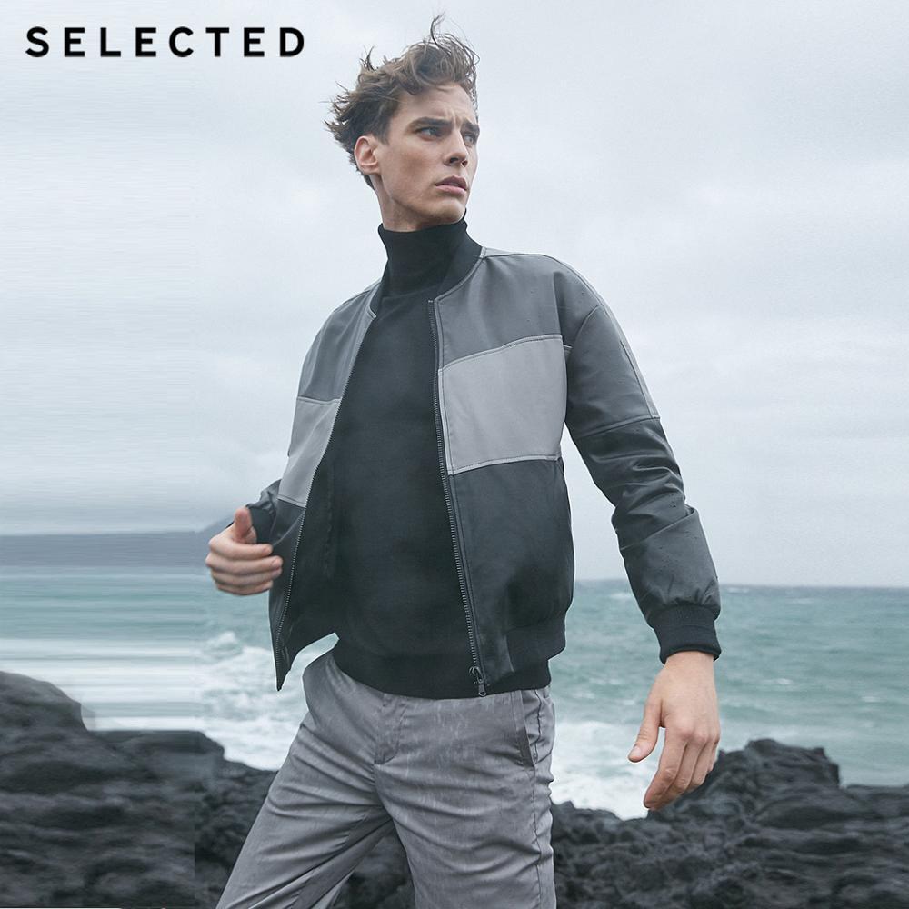 SELECTED Men's Leather Jacket Assorted Colors Baseball Collar Zip-through PU Jacket S | 4191P3516