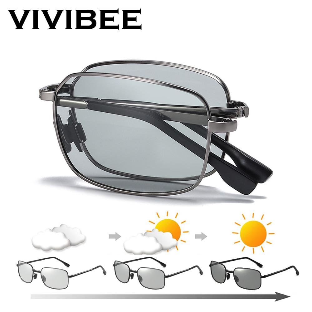 VIVIBEE Men Fold Photochromic Sunglasses With Polarized Lens Rectangle Folding Metal Male Sun Glasses 2020 Trending Products