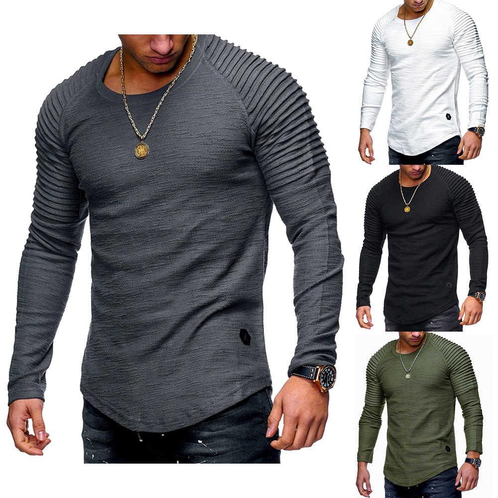 Nibesser Musim Semi Pria T-shirt Plus Ukuran 3XL Lengan Panjang Bergaris T-shirt Kasual Solid Leher O Katun Elastis Kebugaran Hip Hop atasan