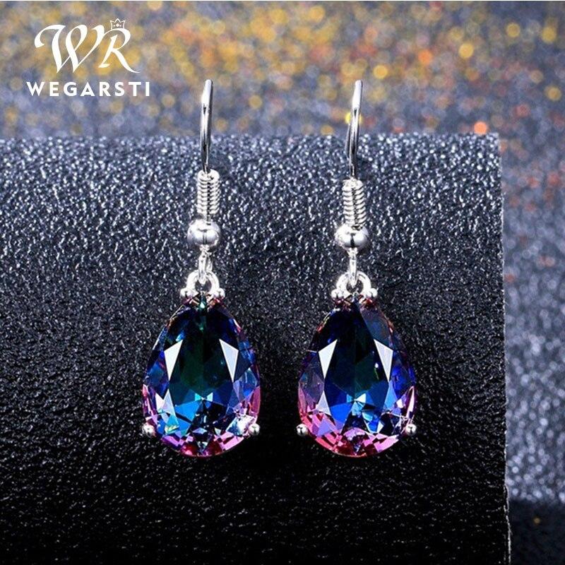 WEGARSTI 100% 925 Sterling Silver Pear Drop Mystic Rainbow Topaz Gemstone Drop Dangle Earrings Fine Jewelry Dropshiping