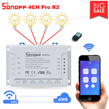 Itead Sonoff 4CH Pro R2 Wifi 스위치 4 채널 인칭 자동 잠금 인터록 스마트 WiFi RF 제어 원격 스위치 Alexa 사용