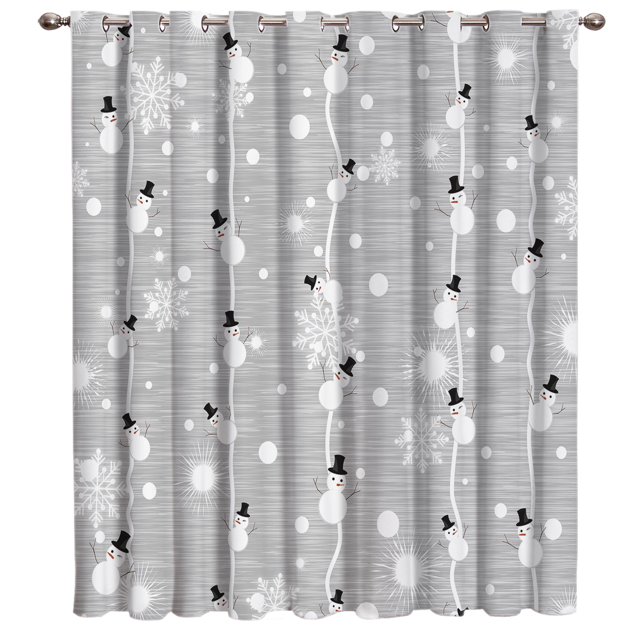 Grey Christmas Snowman Dots Room Curtains Large Window Window Blinds Bathroom Decor Indoor Decor Kids Swag Window Treatment