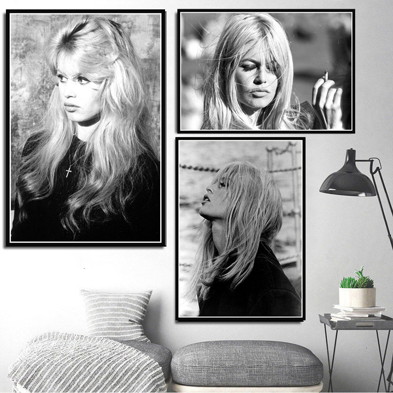 Brigitte Bardot Movie Star Actress Model Black White Canvas Oil Painting Poster Prints Art Wall Pictures Living Room Home Decor image