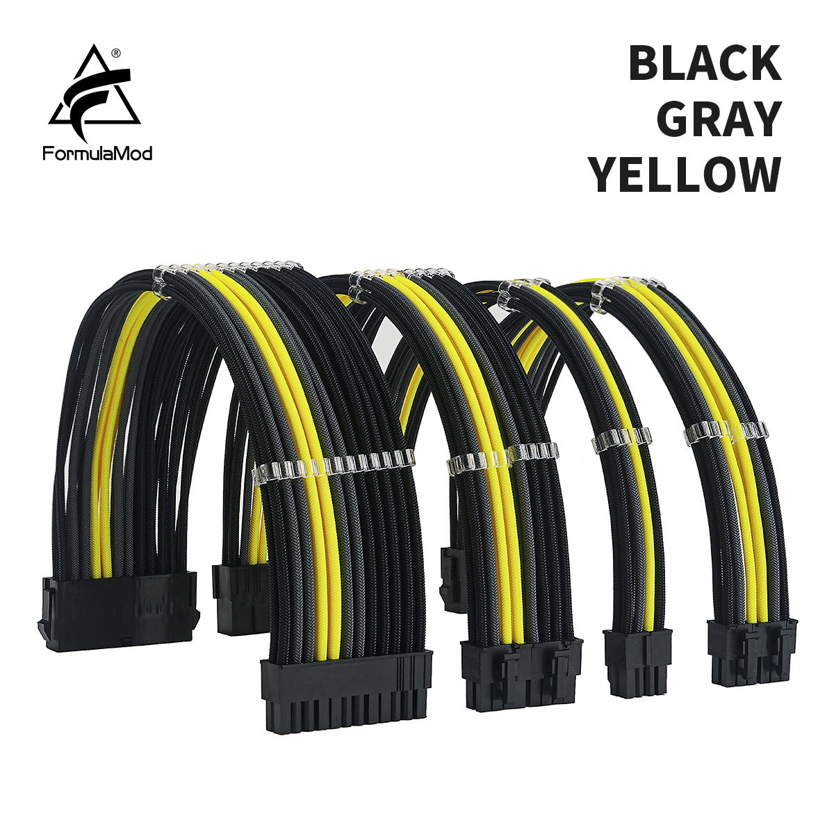 FormulaMod NCK3 Series PSU Extension Cable Kit , Solid Color Cable Mix Combo 300mm ATX24Pin PCI-E8Pin CPU8Pin With Combs