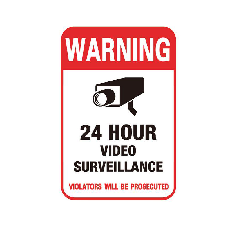 24H CCTV Video Camera System Warning Sign Conspicuous Wall Sticker Monitor