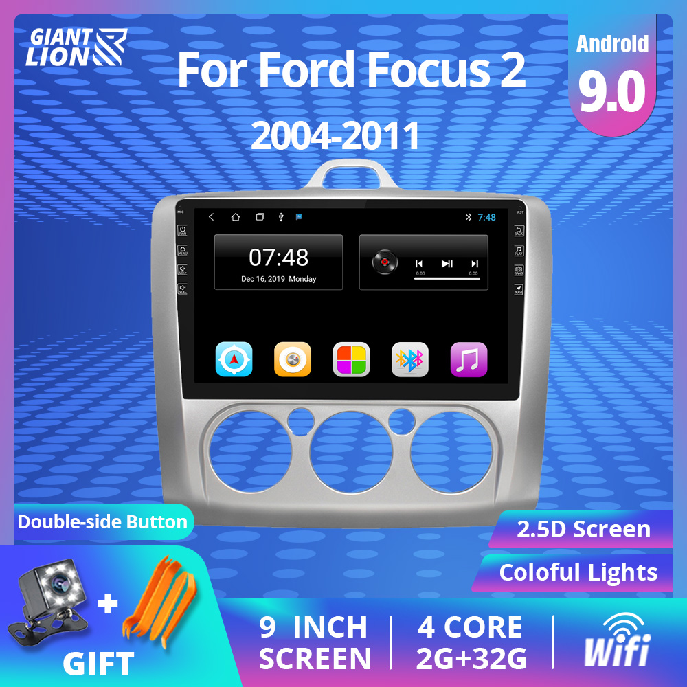 9 Inch 2din Android 9.0 Car Radio For Ford Focus EXI MT 2 3 Mk2 2004 2005 2006 2007 2008 2009-2011 2Din GPS Multimedia Player image