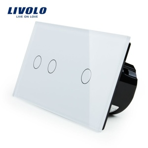 Livolo Touch Switch, 2Gang Left+1Gang Right White Crystal Glass Panel,Wall Light Switch+LED Indicator, VL-C702-11/VL-C701-11(China)