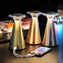 BEIAIDI Vintage Led restaurante KTV Cafe Bar lámpara de mesa recargable dormitorio junto a la lámpara Sensor táctil regulable seta luz de noche