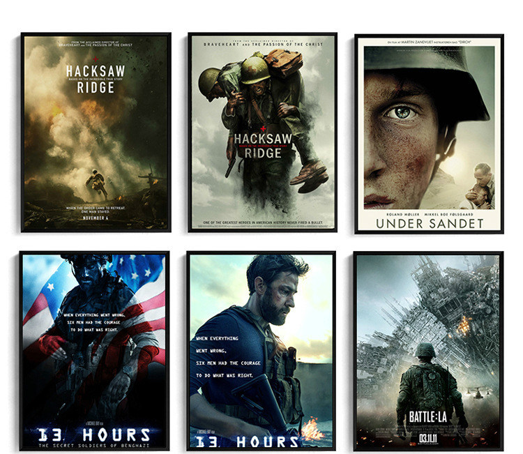 War Theme Movie Poster Under Sandet Hacksaw Ridge Bedroom Decorative Canvas Painting Cafes Wall Paintings Oil Painting Wall Art image