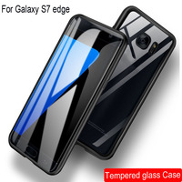 Magnetic Adsorption Case For Samsung Galaxy S7 Edge Metal Frame Doubl Sided Glass Cover GalaxyS7 Edge Protective Phone Cases