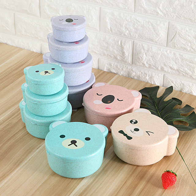 4pcs/Set Wheat Straw Microwave Lunch Box For Kids Small Snacks Meal Food Container Student School Cute Cartoon Bento Box Japan
