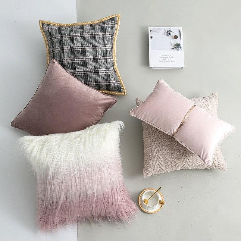 Capa de almofada macio lance fronhas capas de decoração para casa luxo sofá cama de pelúcia rosa princesa fronha ins 45x45cm