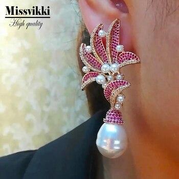 Missvikki Unique design gorgeous natural pearl Dangle earrings Brand Bijoux lady fashion luxury zircon Bridal wedding earrings фото
