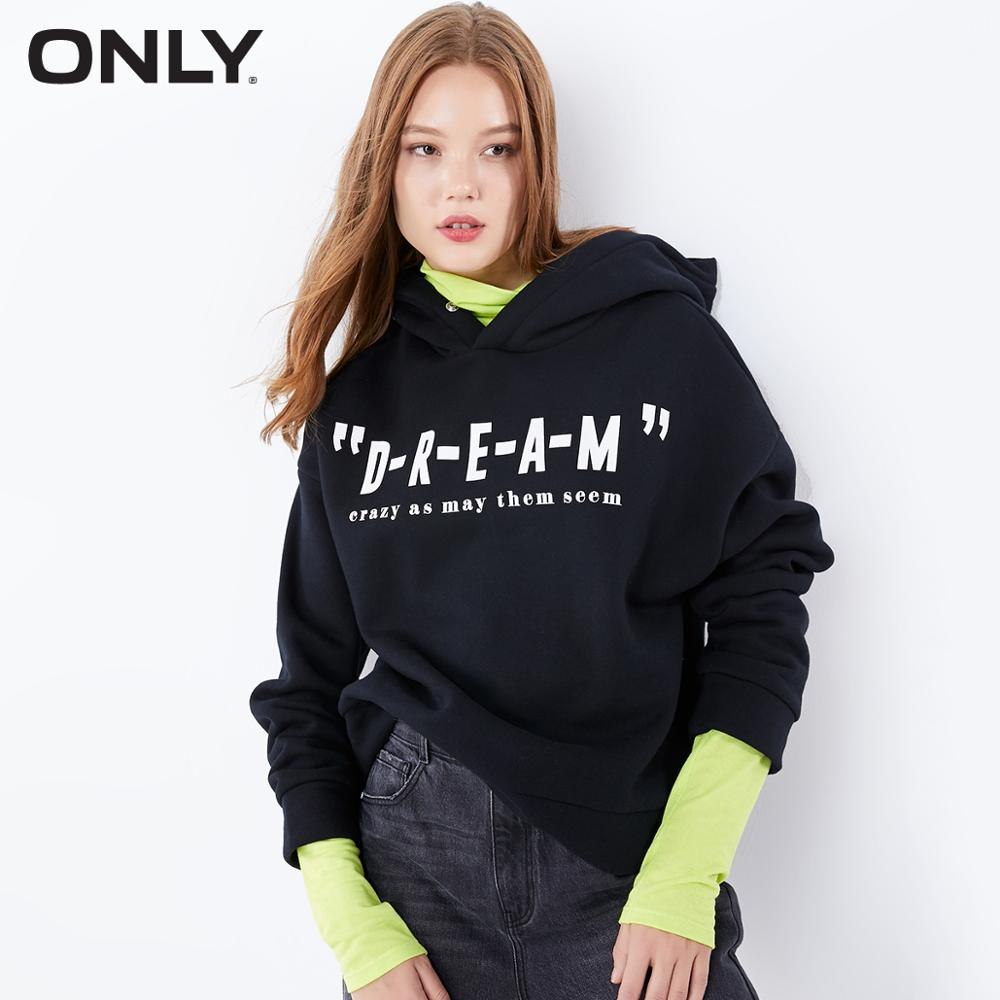 ONLY  Autumn Winter Women's Loose Fit Brushed Letter Print Sweatshirt | 11939S579