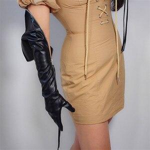 """Image 3 - טק ארוך כפפות פו עור PU 24 """"60 cm שחור ארוך במיוחד כסף רוכסן ציצית נשים של עור כפפות מסך מגע WPU172"""