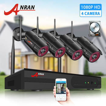 ANRAN cctv 2MP Security Camera System Kit Wireless Video Surveillance System Waterproof Outdoor Camera Night Vision HDD NVR kit techege 8ch 720p nvr wifi surveillance kit plug and play 8pcs 720p hd 1mp wireless waterproof night vision security cctv system