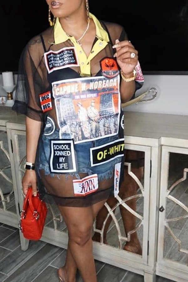 VAZN YMT8806 Mới Nóng Danh Sách Giá Rẻ Gợi Cảm Đảng Mới Lạ Thấy Thông Qua 2 Màu Tay Ngắn Georgette Hoang Dã Joker Nữ Dài tee