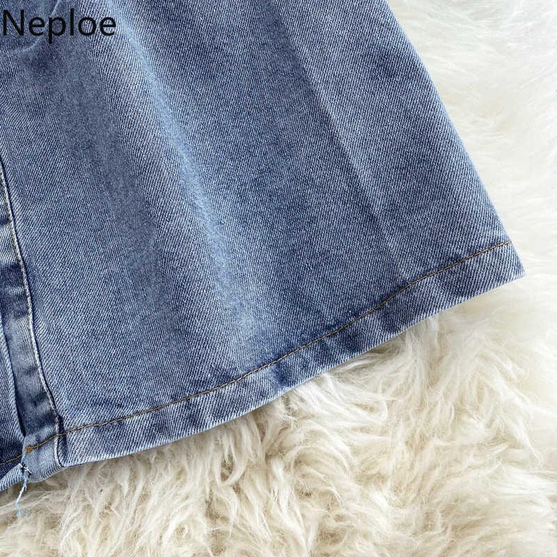 Neploe Vrouwen Chic Denim Jurk Lente Vintage Stand Kraag Lange Mouw Knop Vestidos Elegante Slanke Taille Dames Jurken 49654