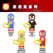 WM6043 Single Sale Super Sonic Shadow Anime Knuckles Action Figures Christmas Gift Building Blocks Toys Pop DIY