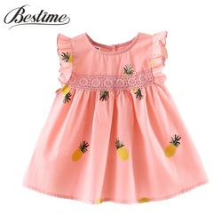 Baby Girls Clothes Summer Baby Dress Frill Sleeve Newborn Infant Dresses Cotton Pineapple Sleeveless Toddler Dresses