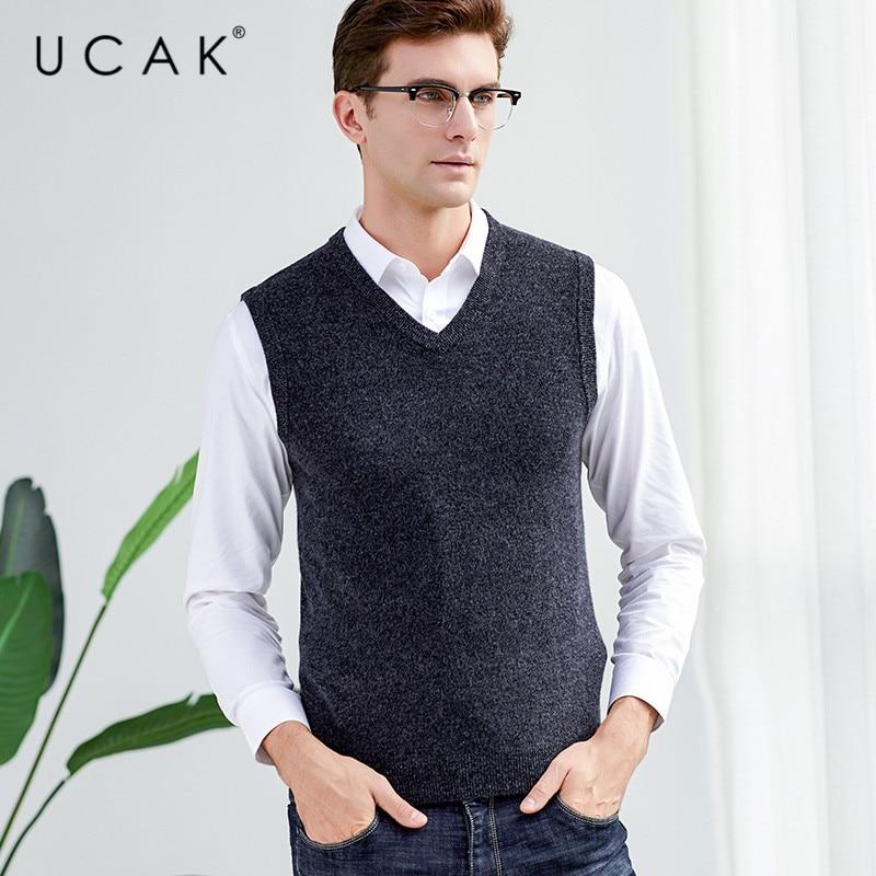 UCAK Brand Solid Pure Merino Wool Nine Colors Sweater Vests 2019 New Autumn Winter Casual Pull Homme Streetwear Sweaters U3121