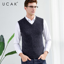 UCAK Brand Solid Pure Merino Wool Nine Colors Sweater Vests 2019 New Autumn Winter Casual Pull Homme Streetwear Sweaters U3121