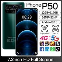 Gorąca sprzedaż SmartPhone P50 wersja globalna 12GB 512GB 4G /5G 10 rdzeń telefon komórkowy telefon 32MP kamera HD 7.2