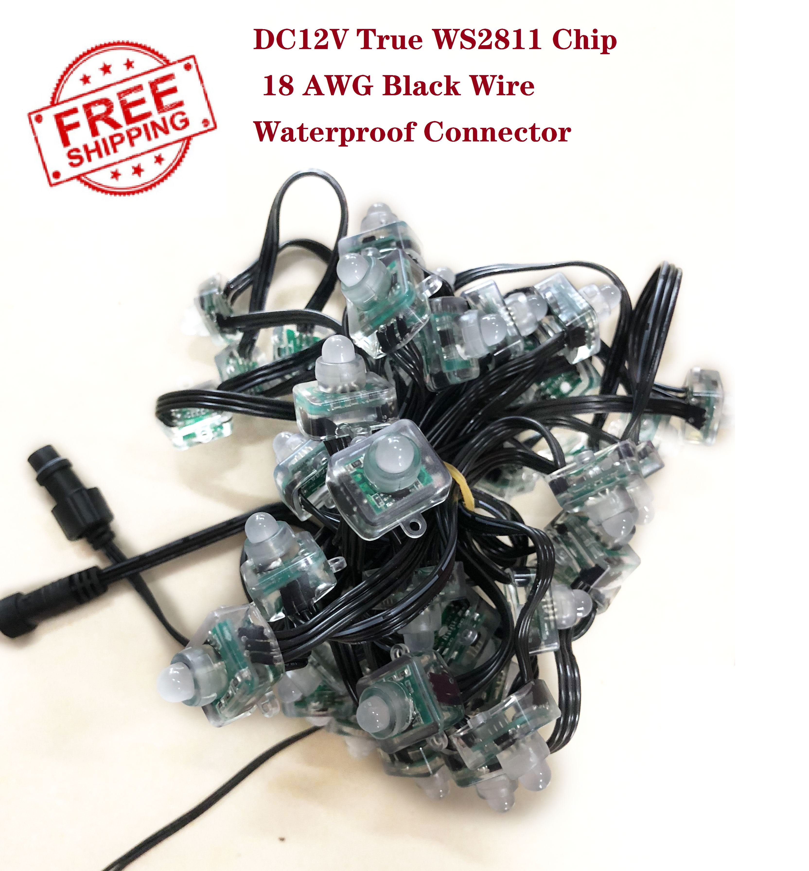DHL FREE SHIPPING 1000pcs 50ct DC12V WS2811 RGB LED Pixel Black Wire 18awg with ray wu/daniel/xconnect connector