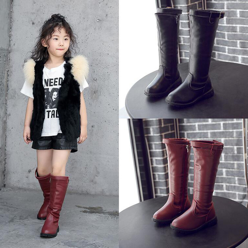 Size 27-37 Big Girl Boots Autumn Winter Girls Black Knee-High Boots Motorcycle Style Martin Boots Girls Soft PU Leather Boots